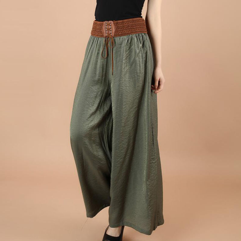 Plus Size Summer Wide Leg Pants For Women Casual Casual Elastic High Waist 2020 New Fashion Loose Lady Pants Trousers Streetwear