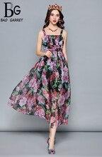 Baogarret Fashion Designer Summer Holiday Dress Womens Cloak Sleeve Ruffles Vintage Floral Print Chiffon Elegant