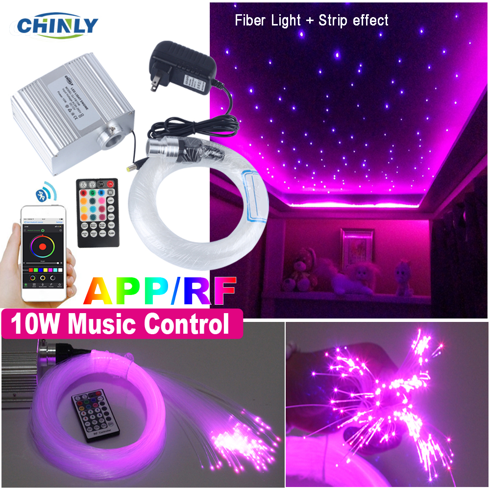 Smartphone APP Control Fiber Optic Light 10W Twinkle Effect Bluetooth & Music Control RGBW LED Lights Kit Star Ceiling Lighting