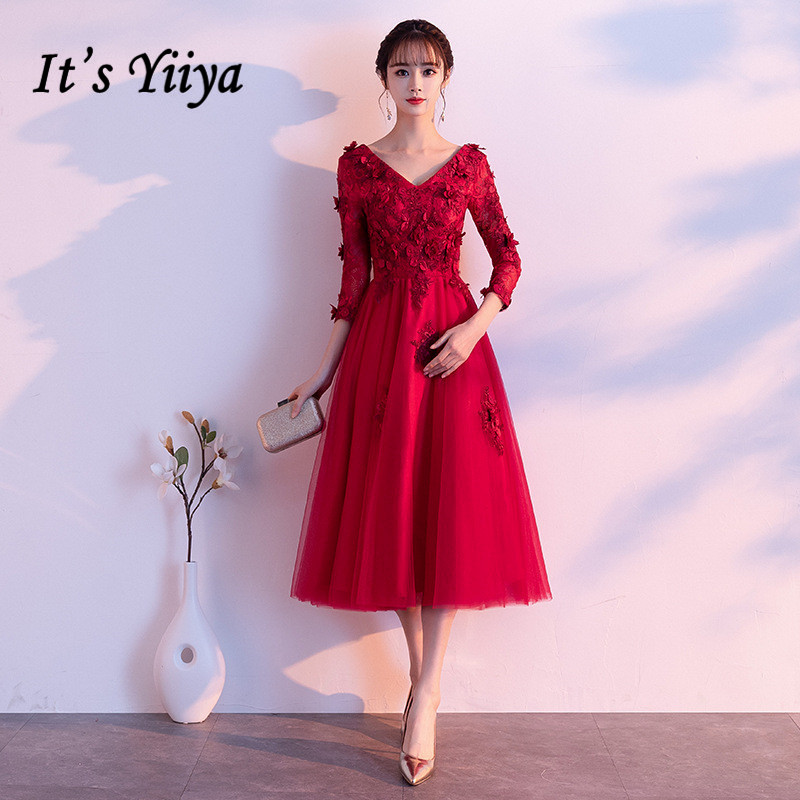 Prom Dresses V-neck AIt's Yiiya R218  Embroidery Appliques Burgundy Women Party Gown 2020 Tulle Tea Length Vestidos De Fiesta