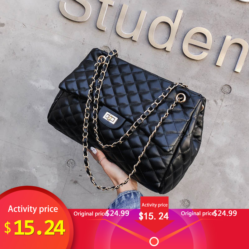 Shoulder Totes Chain Crossbody-Bags Bag Woman Plaid-Pattern Female High-Quality Famous