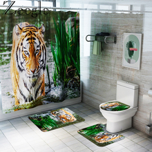 Toilet Rugs Bath-Mat Shower-Curtain-Set And Tiger-Printed
