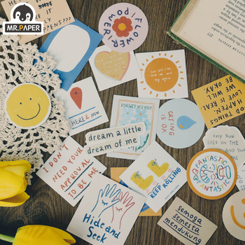 Mr.paper 6 Designs 60Pcs  Deco Stickers Scrapbooking Bullet Journal Toy Plants Album DIY Stationery Decals - discount item  23% OFF Stationery Sticker