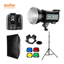Godox QS400II 400Ws GN65 estudio profesional Flash estroboscópico + 2,8 m soporte de luz + 60x90cm, rejilla Softbox + gatillo + granero puerta Kit