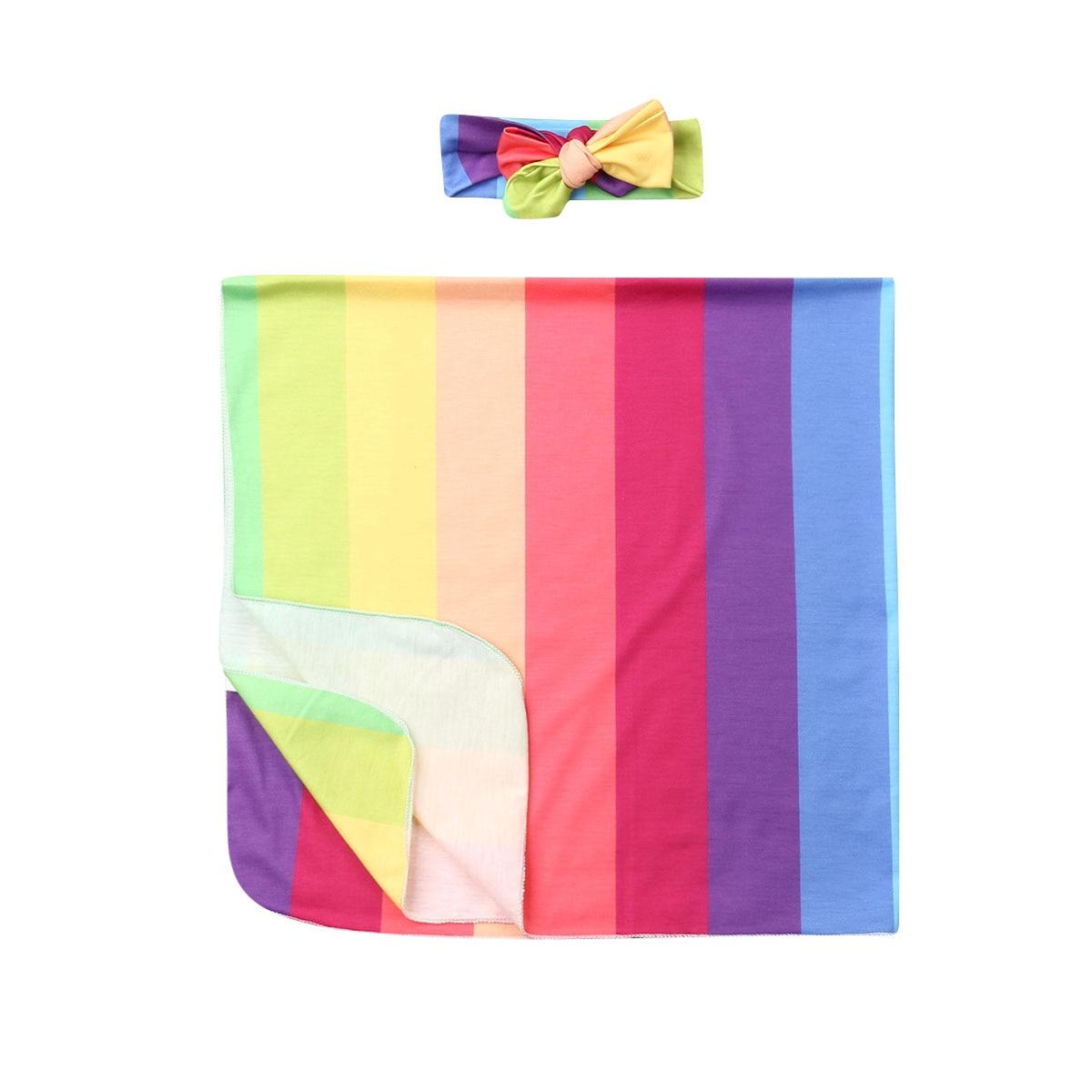 0-6M Infant Newborn Baby Girls Boys Rainbow Blanket Soft Warm Swaddling Wrap Sleeping Swaddle Baby Photography Props