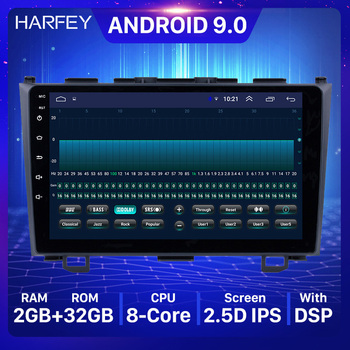 Harfey Android 9.0 for 2006 2007 2008-2011 Honda CRV 9 inch HD Touchscreen Radio GPS Navigation support Steering Wheel Control image