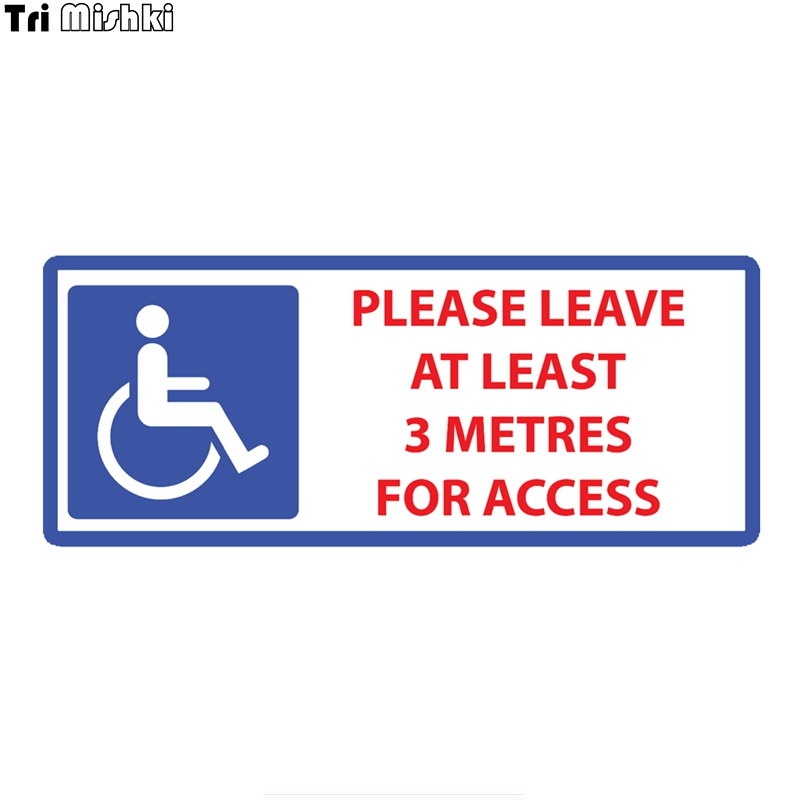 Tri Mishki WCS684 20x8.4cm Disabled Please Leave 3 Metres Access Car Sticker Funny Colorful Car Stickers Auto Automobile Decals