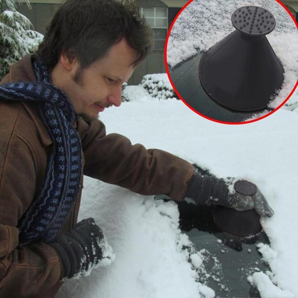 Авто волшебное окошко для лобового стекла автомобиля скребок для льда в форме воронки удаление снега антиобледенитель конус для борьбы с обледенением инструмент выскабливание один круглый лопата для снега
