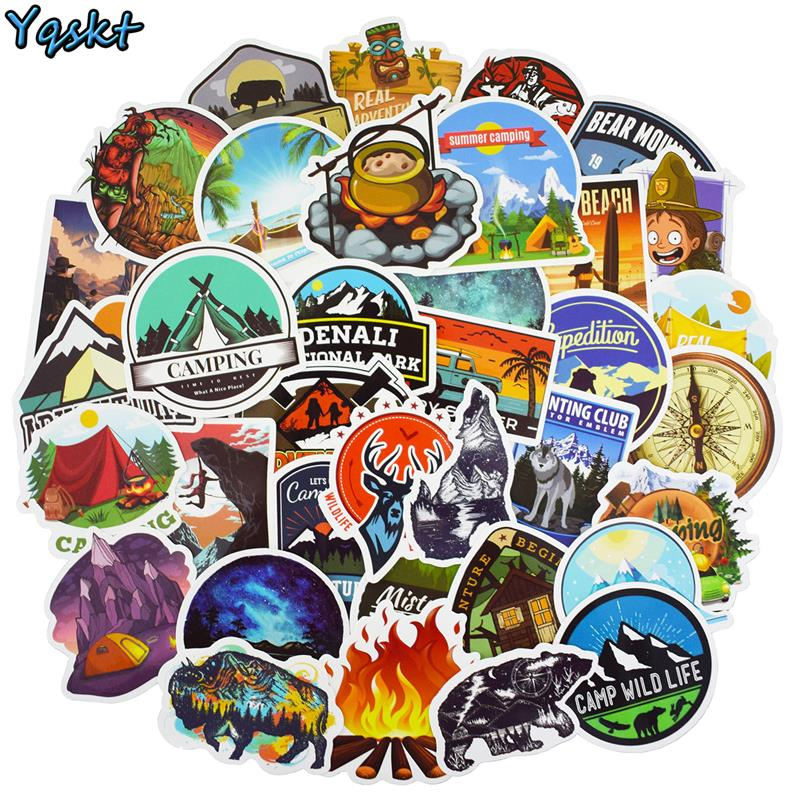 50 Pcs Outdoor Adventure Stickers For Laptop Car Motorcycle Suitcase Phone Fridge Guitar Backpack Decals Waterproof PVC Stickers
