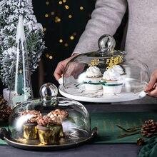 Prato de bolo de estilo europeu criativo cerâmica frutas lanche pão sobremesa placa matte dupla alça bandeja com cobertura placa de amostragem
