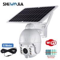 SHIWOJIA Outdoor Solar Kamera WIFI Weiß Abnehmbare Solar Cam Batterie Niedrigen Power PIR Sicherheit Video Überwachung APP Fern