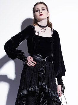 Rosetic Gothic Velvet Blouse Women Short Shirt Lace Up Fashion Casual Black Lantern Long Sleeve Spring 2020 Vintage Blouses lace up velvet teddy