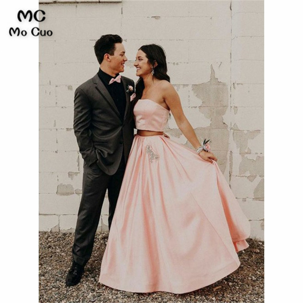 Two Pieces Gown Strapless   Prom     dress   Evening Gown Satin Vestido de festa A-Line Women   prom     dresses   Custom Made
