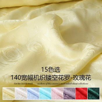 Wide woven modified flower rose hollow jacquard mulberry silk fabric