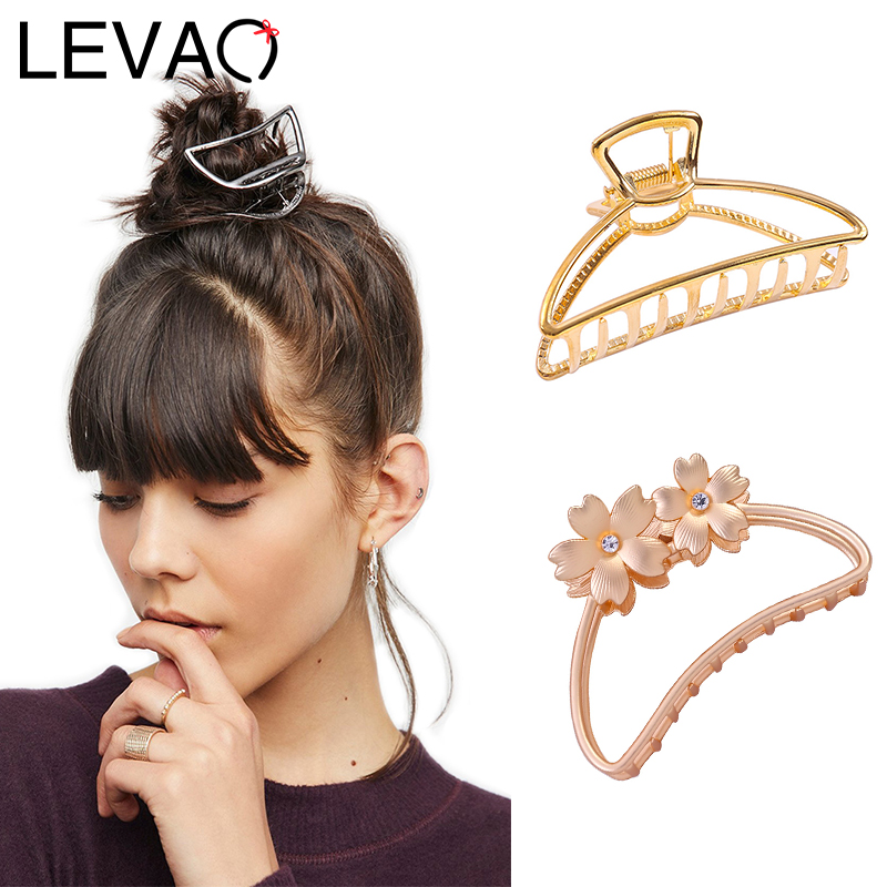 LEVAO Women Geometric Metal New Hair Clips 2020 Spring Hair Claw Hair Crab Vintage Hair Accessories Large Size Hairpin Headwear