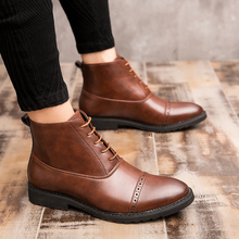 Leather Boots Men Bullock Wedding Dress Shoes Spring/Autumn Lace Up Men Ankle Boots British Style Boots For Men Big Size 38-48 men shoes genuine leather casual shoes men british fashion lace up men boots for male zapatos spring autumn size 39 43