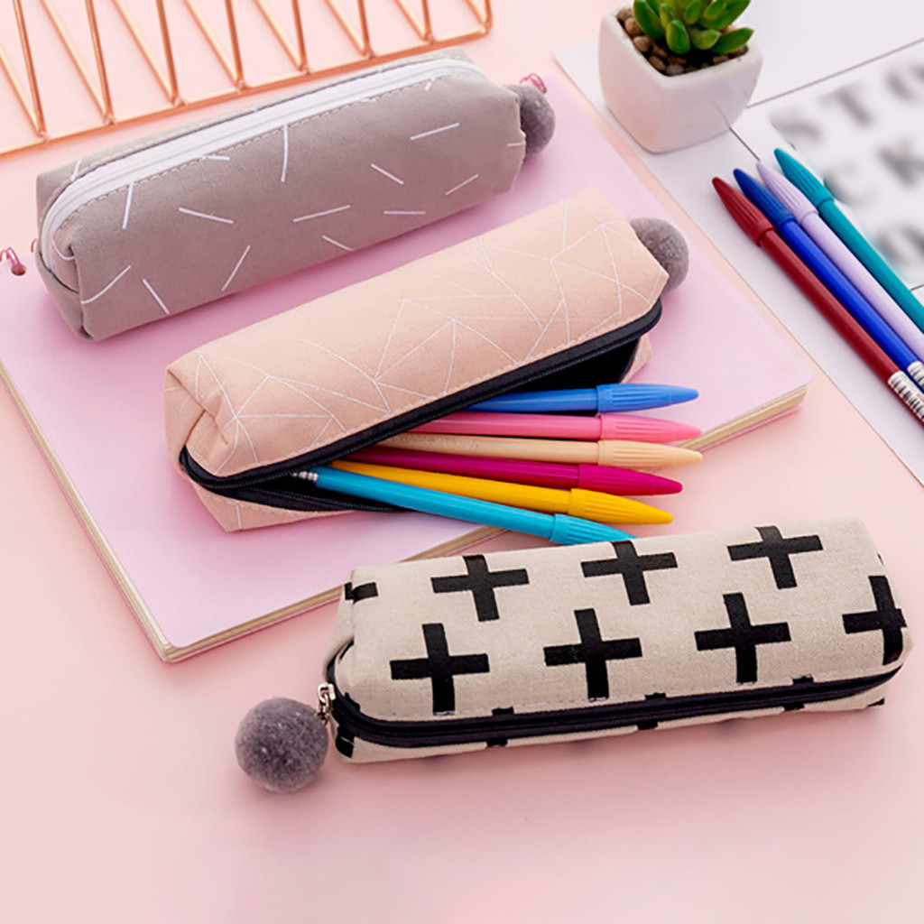 1 Pcs Kawaii Pencil Case Canvas School Supplies <font><b>Bts</b></font> Stationery Gift Estuches School Cute Pencil Box Pencilcase Pencil Bag #A image
