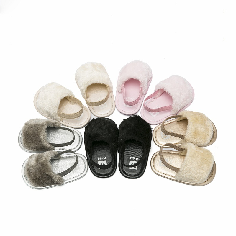 Baby Girl Summer Slippers Breathable Sandals 1Pair Non-slip Baby Slippers Flat With Cute Fluffy Summer Sandals for Baby Girls