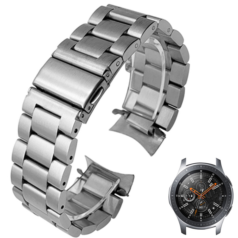 HQ Stainless Steel Watchband For Samsung Galaxy Watch 46mm SM-R800 Sports Band Curved End Strap Wrist Bracelet Silver Black
