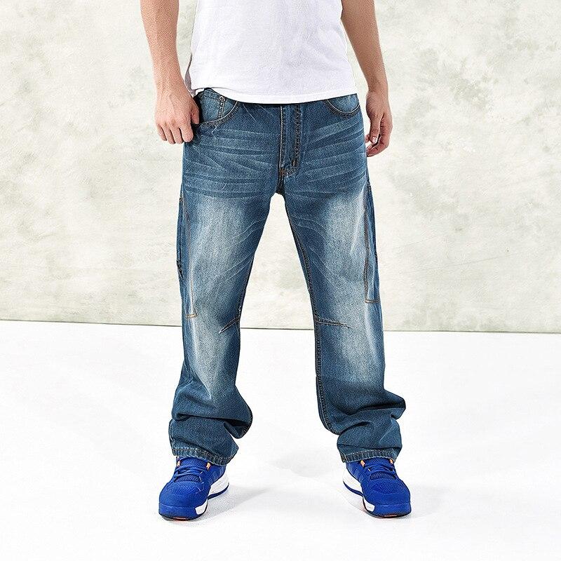 2020 jesienno-zimowa luźna Plus Size workowate dżinsy Hip Hop szerokie nogawki wygodne Parkour Streetwear spodnie dżinsowe długie spodnie męskie