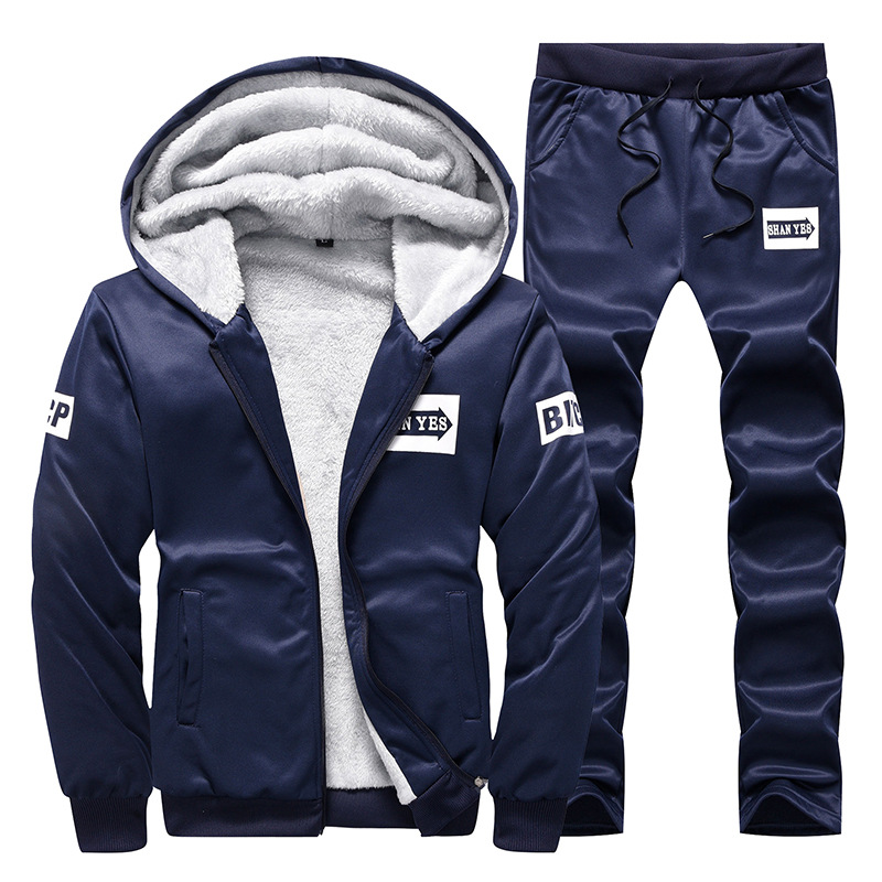 2019 Set Men's Winter Korean-style 2019 New Style Hooded Plus Velvet Men's Hoodie Leisure Sports Suit