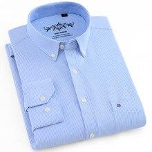 Мужские рубашки с длинным рукавом, Стандартная посадка, мужская клетчатая рубашка, полосатые рубашки, Мужская одежда, Оксфорд, Camisa Social, 5XL, 6XL, большие размеры, уличная одежда