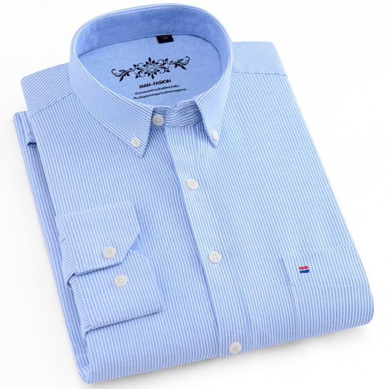 Men Shirt Long Sleeve Regular Fit Men Plaid Shirt Striped Shirts Men Dress Oxford Camisa Social 5XL 6XL Large Sizes Streetwear