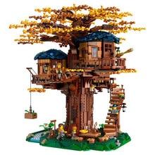 Идеи, модель домика на дереве, 3117 шт., листья, два цвета, строительные блоки, набор кирпичей, рождественские подарки для детей, совместимые с legoingLYS 21318