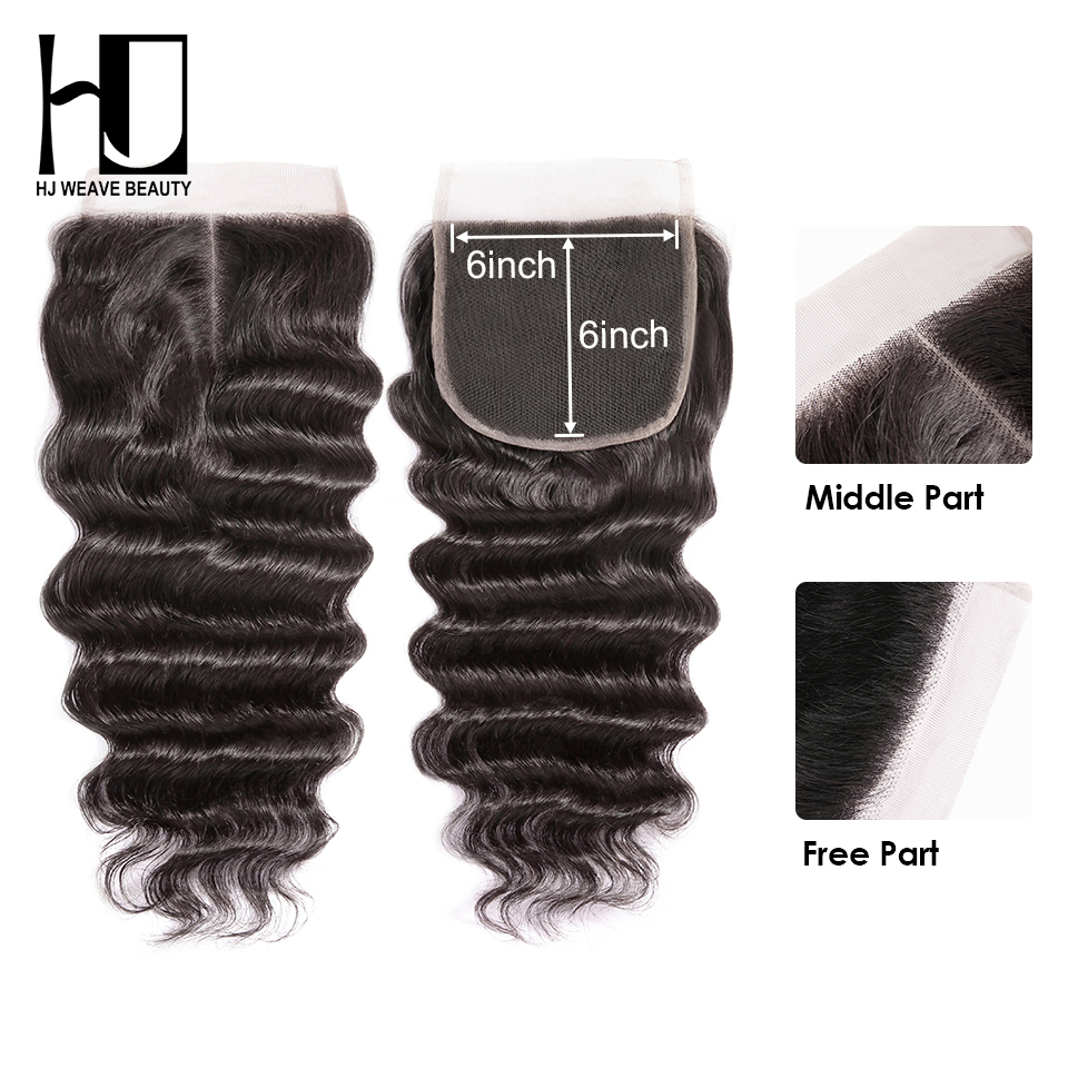HJ Weave Beauty 6x6 Lace Closure Natural Hairline Peruvian Natural Wave Remy Hair HD Transparent Lace