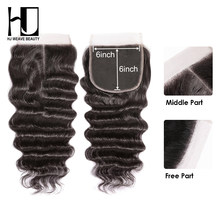HJ Weave Beauty 6x6 Lace Closure Natural Hairline Peruvian Natural Wave Remy Hair HD Transparent Lace(China)