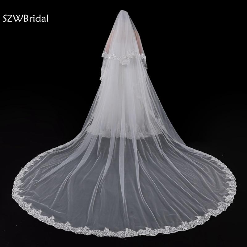 New Arrival Ivory Long wedding veil Lace Edge Mantilla de novia casamento Bridal veil voile mariage wedding accessories 2020