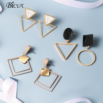 BICUX New Fashion Round Dangle Drop Korean Earrings For Women Geometric Round Heart Gold Earring Wedding Jewelry 1