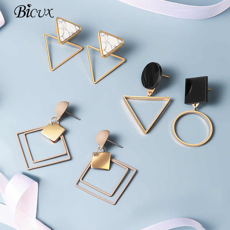 BICUX Korean Statement Black Acrylic Drop Earrings for Women 2019 Fashion Jewelry Vintage Geometric Gold Asymmetrical Earring