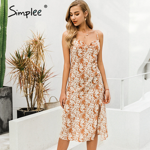 Image 3 - Simplee Sexy spaghetti strap women dress Elegant v neck floral print high split female sundress Summer beach ladies midi dresses