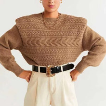 ZA style autumn winter women's Warm tops knitted wide shoulder sweater women pullover casual lady pull woman jumper(China)
