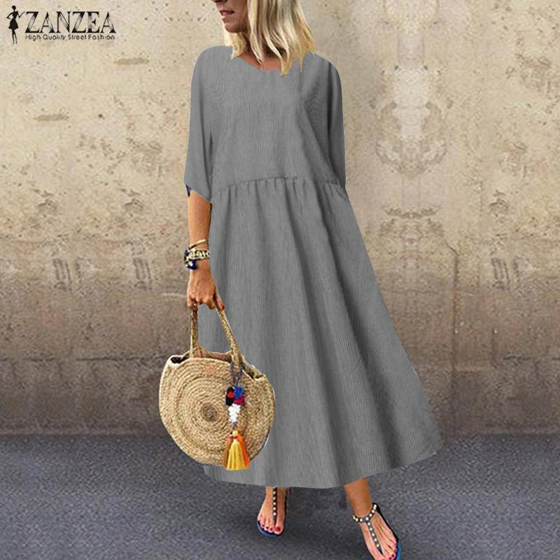 2020 Summer Cotton Linen Long Maxi Dress ZANZEA Women Casual Loose Striped Vestidos Elegant Party Robe Femme Beach Sundress 5XL