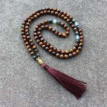 National Style Necklace Natural Stone Tiger Stone Beads Handmade Beaded Buddha Head Long Tassel Sweater Chain Ornament Wholesale fashion jewelry handmade beaded natural green stone long chain sweater metal sequins pendant necklace