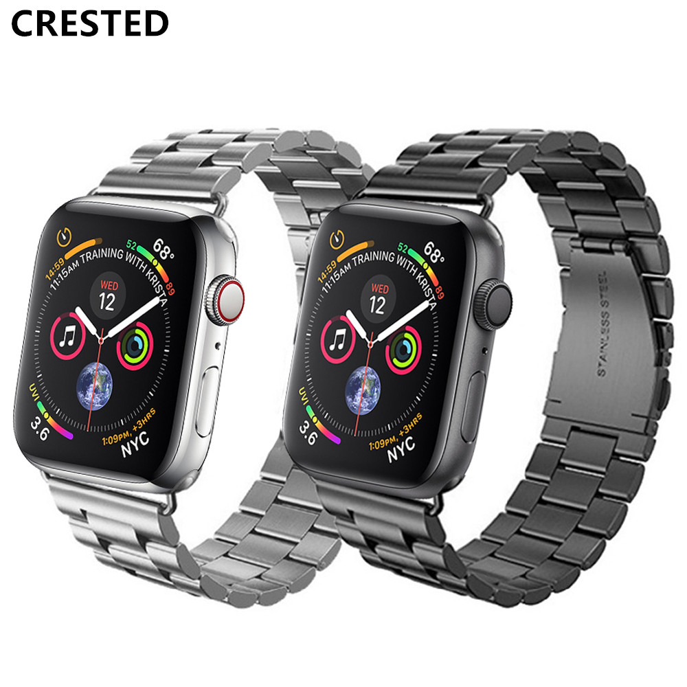 CRESTED Strap For Apple Watch Band 44mm 42mm Iwatch 38mm 40mm Correa Apple Watch 5 4 3 2 Stainless Steel Link Bracelet Watchband