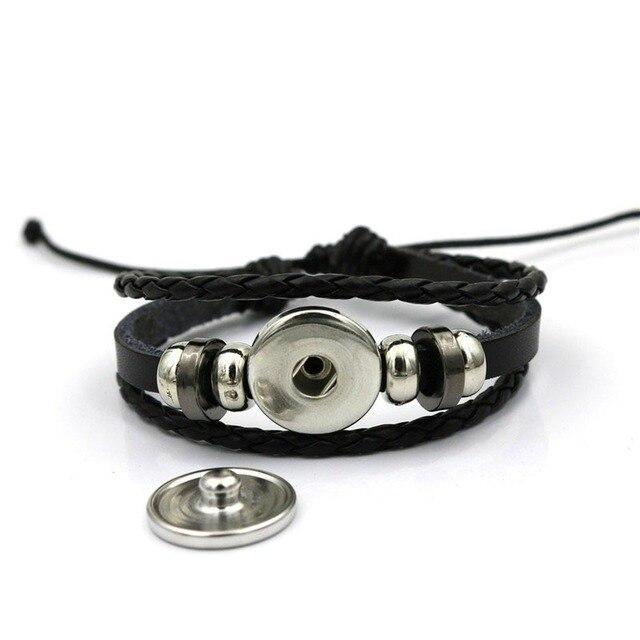 Фото мужской черный плетеный кожаный браслет в стиле панк модные