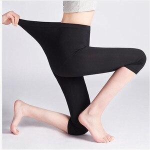 Image 2 - Legging dété XS 7XL pour femmes, pantalon court, mince, grande taille, extensible, gris noir blanc rose 6XL 5XL 4XL 3XL, 3/4