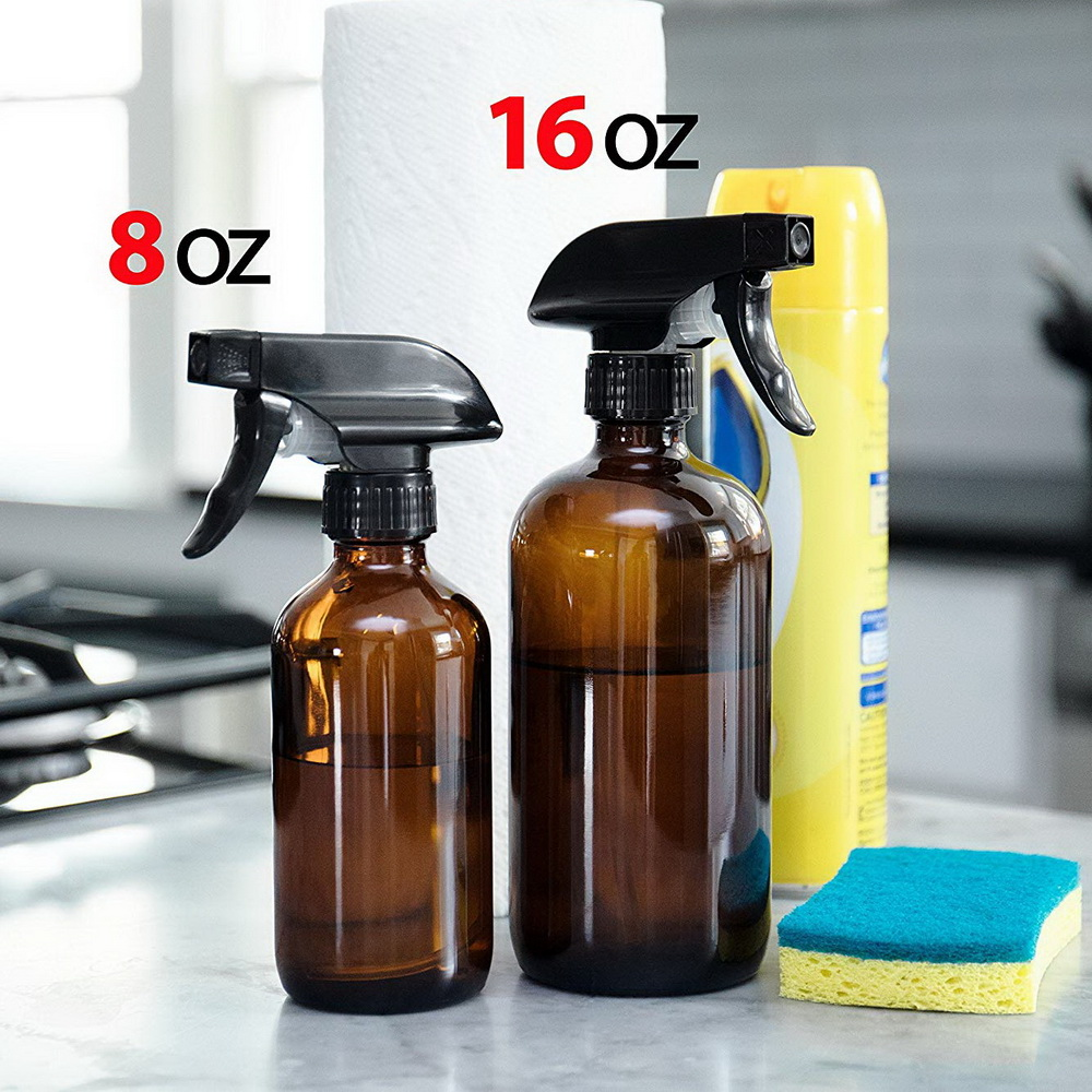 Image 3 - 4 Pack 500ml Amber Glass Spray Bottle with Trigger Sprayer for Essential Oils Cleaning Aromatherapy 16 Oz Empty Refillable Brownbottle containerglass spraytrigger spray -