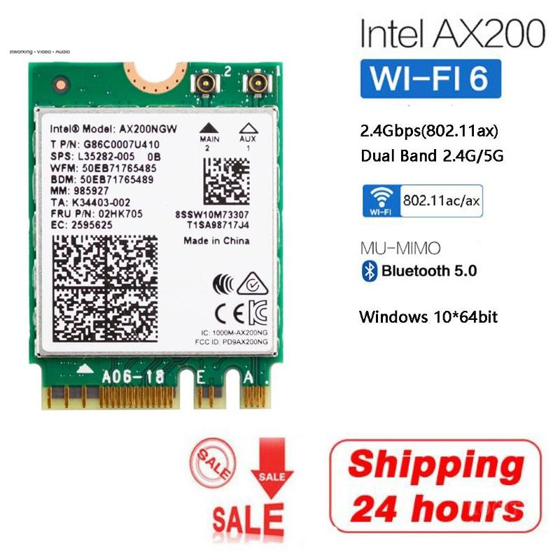 Wireless Dual Band 2.4G/5G 2400Mbps WiFi 6 For Intel AX200 NGFF M.2 Bluetooth 5.0 Wifi Network Card <font><b>AX200NGW</b></font> 802.11ac/ax MU-MIMO image