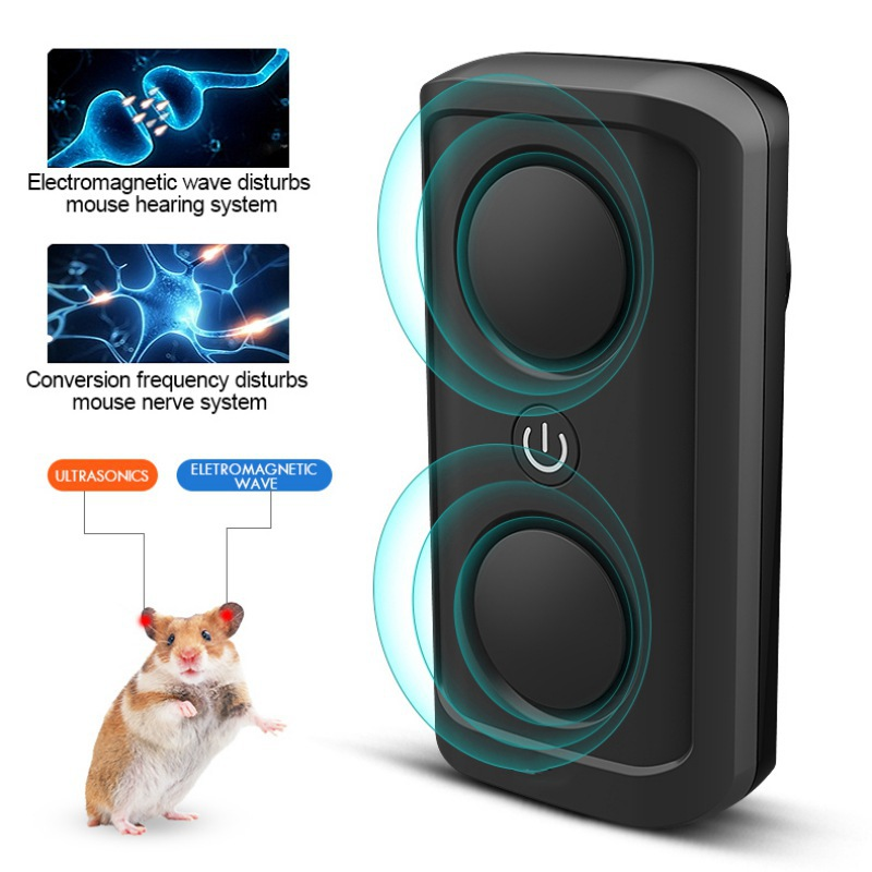 Ultrasonic Repeller Mice High Power Household 22KHZ-85KHZ Double Horn Penetrating Dynamic Frequency Conversion Pest Repeller