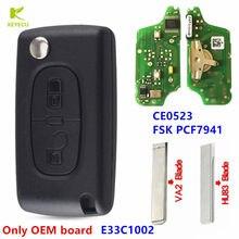 """KEYECU 2, proszę kliknąć na przycisk """" zdalny klucz składany 433MHz FSK PCF7941 CE0523 FCC: E33C1002 dla PEUGEOT 207 307 308 407, dla citroena C2 C3 C4 C5 C6"""