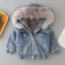 Denim Jacket Girls Baby Winter Children Velvet Plus for Thickened Short Big Fur-Collar