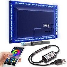 Bluetooth LED RGB Faixa Luz SMD5050 5M 1M 2M 3M 4M 0.5M Ledstrip Flexível Neon Fita Diodo Fita Tira CONDUZIDA USB 5V Backlight TV
