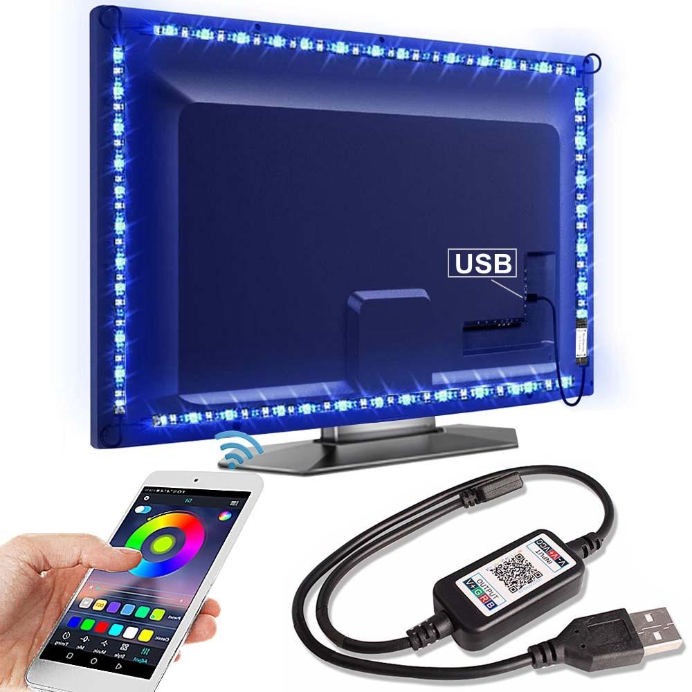 Bluetooth RGB LED de luz de tira SMD5050 5M 1M 2M 3M 4M 0,5 M de cinta de neón Flexible Ledstrip cinta de tira de LED 5V USB TV retroiluminación