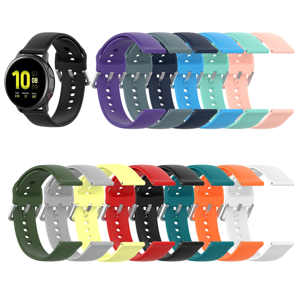 20MM Soft Silicone Strap For Samsung Galaxy Watch Active 2 / Active 40mm 44mm Bands Smart Watch Bracelet S3 Classic Strap