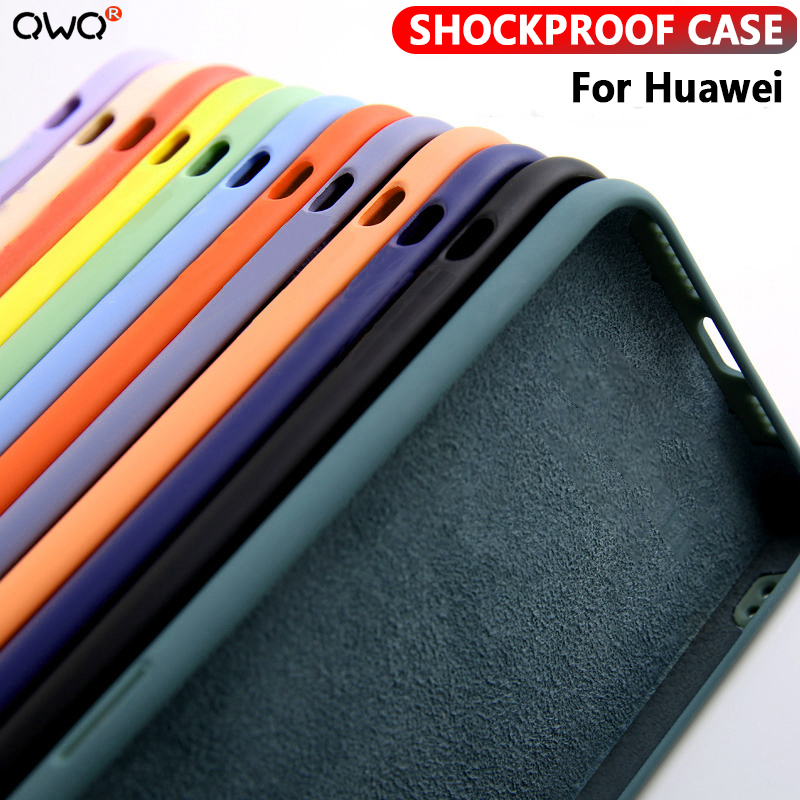 Shockproof Case For Huawei P20 P30 P40 Lite Pro Liquid Silicone Case For Huawei Mate 20 30 Pro P smart 2019 Nova 6 SE Back Cover(China)