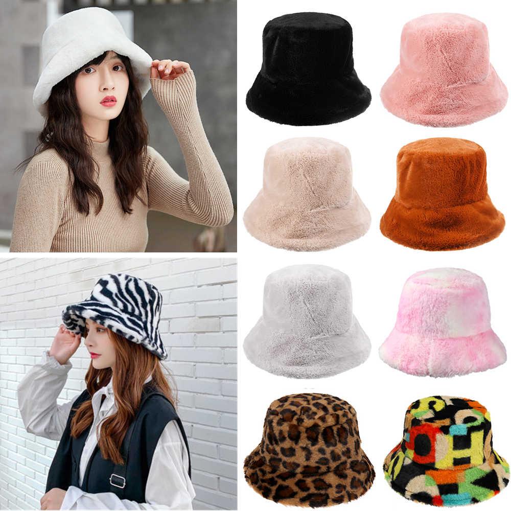 huwaioury Women Winter Faux Wool Bucket Hat Solid Color Plush Warm Wide Brim Panama Cap